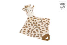 Pluche Giraffe knuffeldoekje met rammelaar- LPC- White