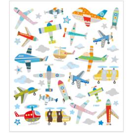 Stickers, vel 15x16,5 cm, 42 stuk, , vliegtuigen en helicopters,  1vel-C-Diverse kleuren