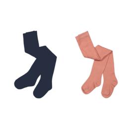 Koko Noko-Girls  2-pack tights-Dusty pink + navy