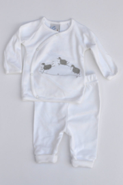 Unisex 2-pce Babysuit sheeps-LPC-White-grey