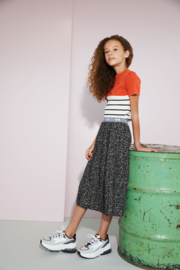 Nobell-Girls Teens- NoelB maxi pleated skirt with branded elastic waistband-Jet Black