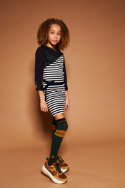 Girls Teens Miky striped tight dress- Nobell- Grey navy