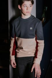 Bellaire-Round neck sweater colorblock-Darkest Spruce