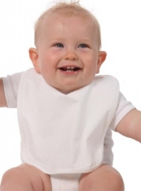 Katoenen babyslabbetje wit 25x28cm