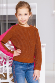 Girls Kids heavy knitted pullover with lurex-B.Nosy-Pink glo