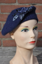 Girls Baret knitted en flowers-T-Blue