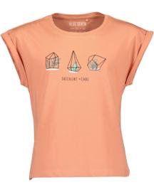 Blue Seven-Girls knitted T-shirt -Ginger orig-Orange