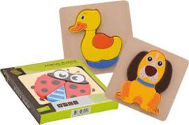 Joueco Houten dieren puzzel-C-Diverse kleuren