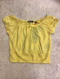 Blue Seven-Girls knitted T-shirt -Straw-Yellow