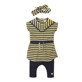 Dirkje-Baby Girls  2 pce babysuit dress + headband-Navy + yellow