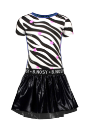 B.Nosy-Girls dress with ao zebra printed top and coated skirt-White-AO Zebra