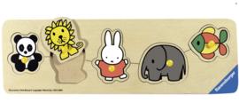 Ravensburger- Speelplank nijntje in de dierentuin - houten puzzel - 5 stukjes - kinderpuzzel-Multi Color