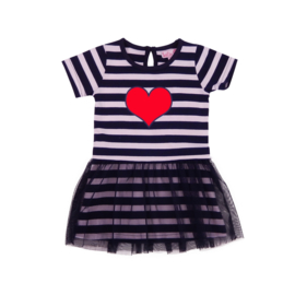 Mini Stripey dress -LoFff - Dark Blue - white - red