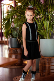B.Nosy-Girls dress with cotton lace ruffle + skirt-Black