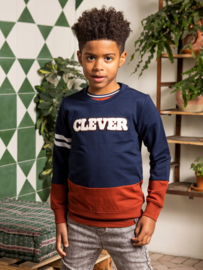 B.Nosy-Boys crewneck sweater with cut and sew and frotte artwork-Space Blue