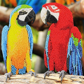Craft Buddy- Card Kit-Diamond Painting Parrot Friends- Multi Color