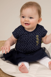 Dirkje-Baby Girls  2 pce babysuit dress-Navy + white
