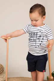 Dirkje-Baby Boys T-shirt ss -White + navy stripe
