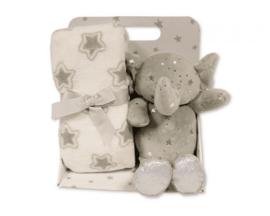 Snuggle Baby babydeken met knuffelolifant sterren 23 cm set 2 delig-LPC- White