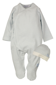Baby Boys pre 1-pce Babysuit + hat-Dirkje- Light Blue stripe