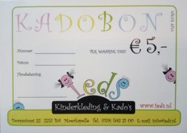 Kadobon waarde € 5,00