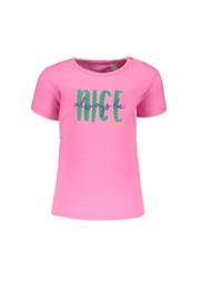 Bampidano-Baby  Girls short sleeve T-shirt Ella plain with print SUMMER-Neon Pink