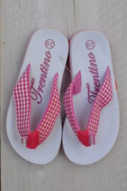 Flip flopwith pink and white-Libaco- wit-maat 31t/m39