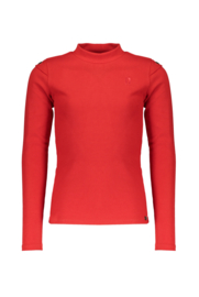 Nobell-Kirza rib tshirt l/sl with turtle neck and eyelet detail at armhole-Samba-Red