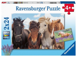 CW-Ravensburger Paardenliefde-Twee puzzels- 24 stukjes-Mult Color