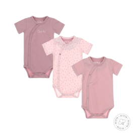 Dirkje-Baby Girls 3 pce body set ss Bio Cotton-Mauve + light pink