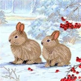 Chrystel Card Kit-Diamand Painting Winter Bunnies-Craft Buddy- Multi Color
