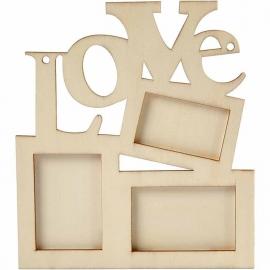 Houten Fotolijst LOVE, afm 19,7x16cm, thickness 7 mm.
