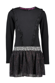 B.Nosy-Girls dress with flock aop top and sequince skirt -Black zebra