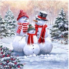 Chrystel Card Kit-Diamand Painting Snowman Family-Craft Buddy- Multi Color