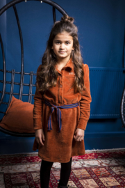 B.Nosy-Girls corduroy dress with puffed sleeves and high cuffs-Camel