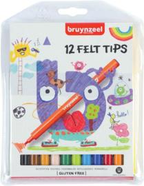 Bruynzeel Kids 12 viltstiften-C-Diverse kleuren