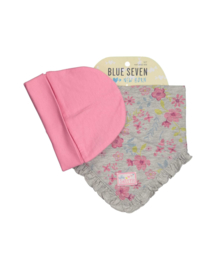 Baby Girls cap + scarf- Blue Seven-Cherie rose