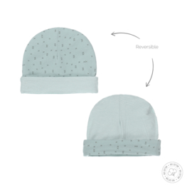 Dirkje-Baby Unisex hat reversible Bio Cotton-Aqua green + off white