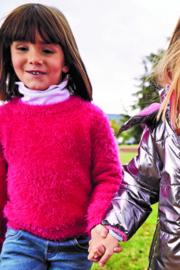 Kids Girls knitted pullover -Blue Seven- Magenta orig