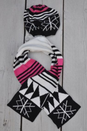 Dirkje-Girls 2 dlg set scarf + hat fantasie- pink