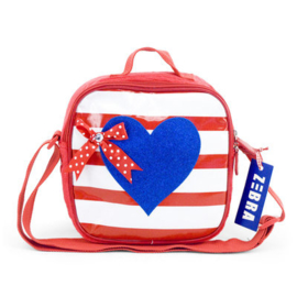 Girls Kindertasje met rits navy hart-Zebra- Blue