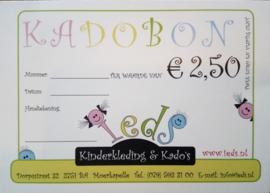 Kadobon waarde € 2,50