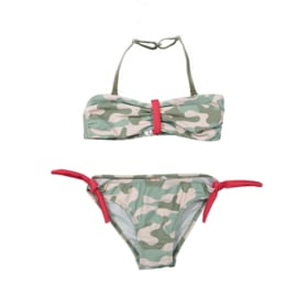 Girls Bikini - DJ Dutch jeans- Faded light pink+army green aop