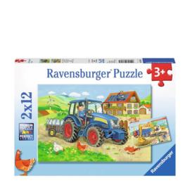 Ravensburger Bouwplaats en boerderij- Twee puzzels - 12 stukjes -C-Multi Color