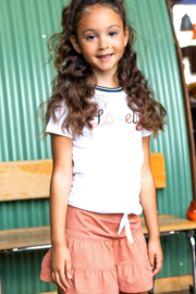 B.Nosy-Girls t-shirt with embroidery on chest and knot-Snow White