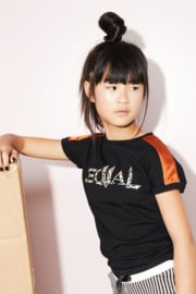 Nobell-Girls Teens- Kamy tshirt ssl with shoulder parts+Equal print on chest-Jet Black