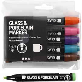 Glas- & Porseleinstiften, lijndikte: 1-3 mm, extra kleuren, semi-dekkend