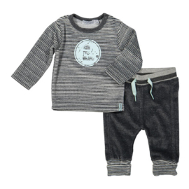 Baby Boys Shirt- Dirkje -darkgrey melee stripe- 50