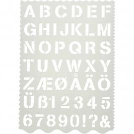 Stencil, afm 21x29 cm, Alphabet, 1stuk
