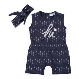 1 pce girls babysuit + headband Girls-Dirkje-Navy aop-50